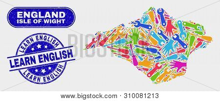 Engineering Isle Of Wight Map And Blue Learn English Scratched Seal. Colorful Vector Isle Of Wight M