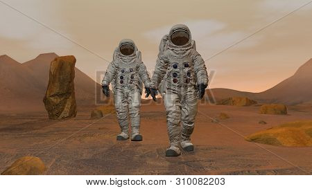 3d Rendering. Colony On Mars. Two Astronauts Wearing Space Suit Walking On The Surface Of Mars. Expl