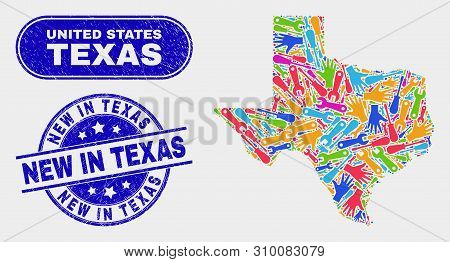 Assemble Texas State Map And Blue New In Texas Distress Stamp. Bright Vector Texas State Map Mosaic