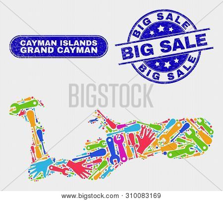 Component Grand Cayman Island Map And Blue Big Sale Distress Seal Stamp. Colorful Vector Grand Cayma