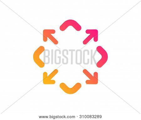 Maximize Arrow Icon. Full Screen Symbol. Maximise Navigation Sign. Classic Flat Style. Gradient Maxi