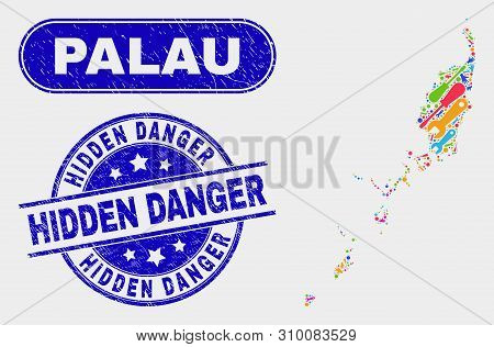 Service Palau Map And Blue Hidden Danger Scratched Seal. Colored Vector Palau Map Mosaic Of Mechanic