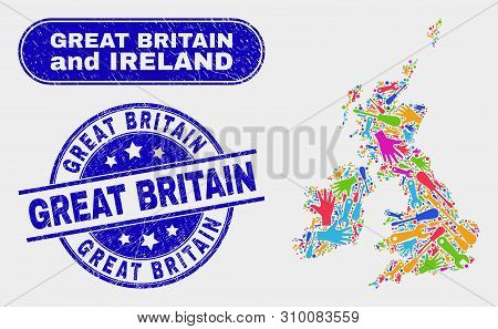 Component Great Britain And Ireland Map And Blue Great Britain Distress Seal Stamp. Colored Vector G
