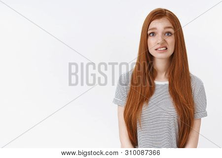 Oops Sorry. Redhead Girl Did Not Ment Accidently Broke Vase Look Awkward Smiling Feel Guilt Apologiz