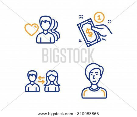 People Communication, Payment Method And Man Love Icons Simple Set. Businesswoman Person Sign. Peopl