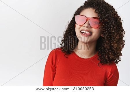 Close-up Lively Stylish Enthusiastic Modern Woman Curly Dark Hairstyle Wearing Red Sunglasses Top Sm