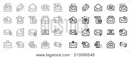 Mail Message Line Icons. Newsletter, Email Document, Correspondence Icons. Received Mail, Secure Mes
