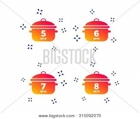 Cooking Pan Icons. Boil 5, 6, 7 And 8 Minutes Signs. Stew Food Symbol. Random Dynamic Shapes. Gradie