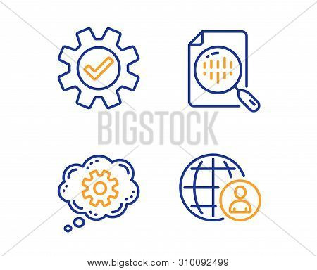 Cogwheel, Service And Analytics Chart Icons Simple Set. International Recruitment Sign. Engineering