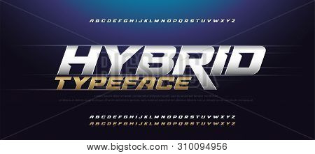 Sport Modern Italic Alphabet Gold Font. Typography 3d Urban Style Silver And Golden Fonts For Techno