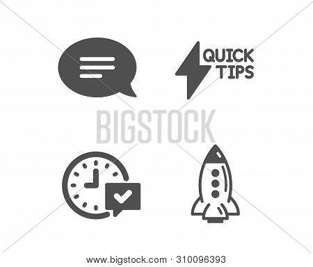 Set Of Quickstart Guide, Select Alarm And Chat Icons. Rocket Sign. Lightning Symbol, Time Symbol, Sp
