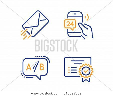 24h Service, E-mail And Ab Testing Icons Simple Set. Certificate Sign. Call Support, Mail Delivery,