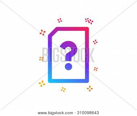 Unknown Document Icon. File With Question Mark Sign. Untitled Paper Page Concept Symbol. Dynamic Sha