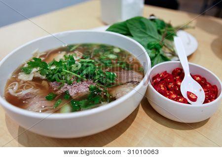 Vietnamese Rare Beef Noodle Soup Pho Chilli