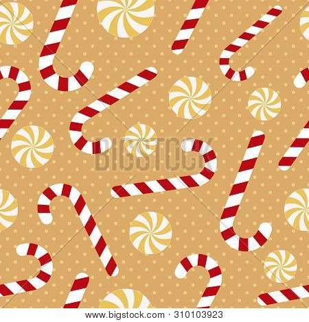 Seamless Pattern With Candy Canes, Christmas Vector Illustration
