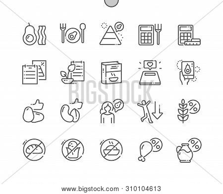Keto Diet Well-crafted Pixel Perfect Vector Thin Line Icons 30 2x Grid For Web Graphics And Apps. Si