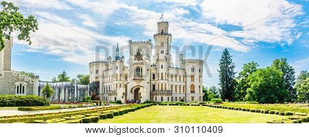 Hluboka,czech Republic - June 20,2019 - Panoramic View At The Castle Hluboka. Hluboka Castle Is Cons