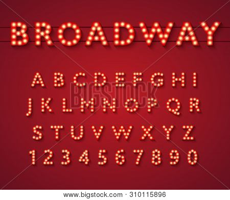 Light Bulb Alphabet In Broadway Theatre Style.