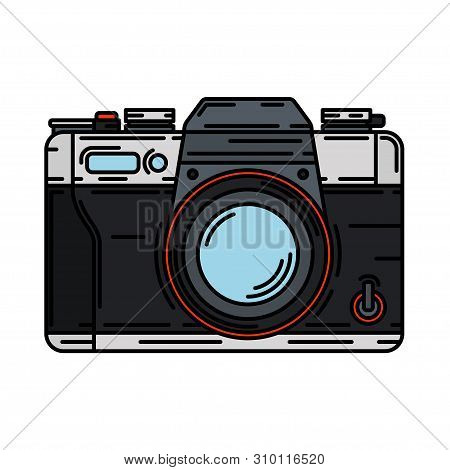Color Vector Icon With Digital Slr Professional Camera. Photography Art. Megapixel Photocamera. Cart