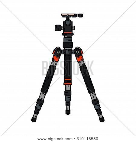 Color Flat Vector Icon Digital Photographer Professional Equipment. Photography Art. Photographic Ca
