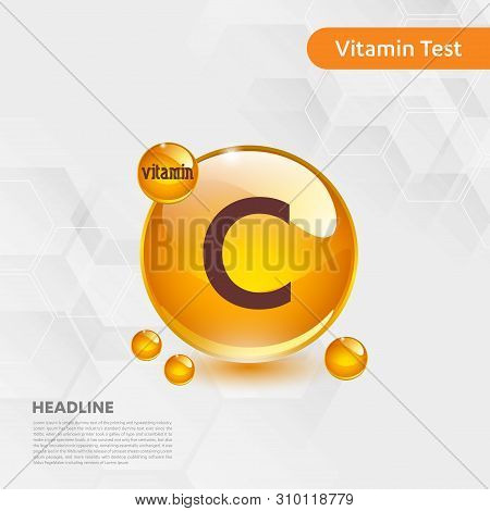 Vitamin C Gold Shining Icon, Cholecalciferol. Golden Vitamin Complex With Chemical Formula Substance
