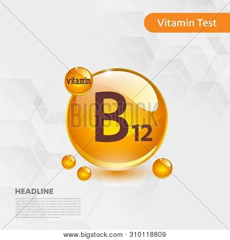 Vitamin B12 Gold Shining Icon, Cholecalciferol. Golden Vitamin Complex With Chemical Formula Substan