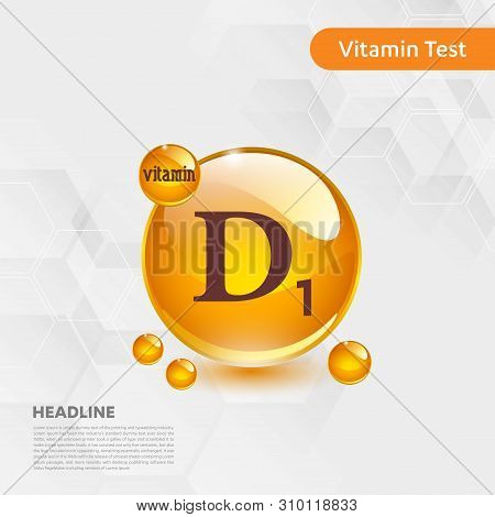 Vitamin D1 Gold Shining Icon, Cholecalciferol. Golden Vitamin Complex With Chemical Formula Substanc