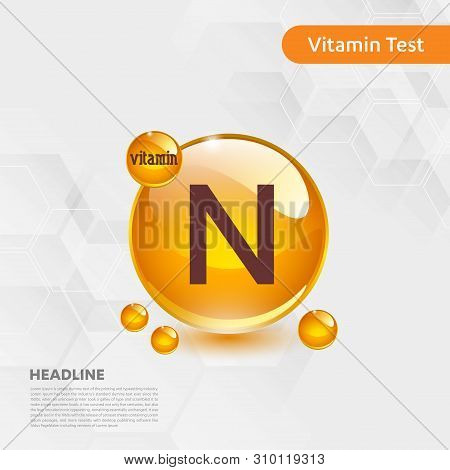 Vitamin N Gold Shining Icon, Cholecalciferol. Golden Vitamin Complex With Chemical Formula Substance