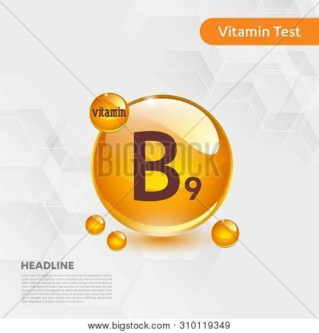 Vitamin B9 Gold Shining Icon, Cholecalciferol. Golden Vitamin Complex With Chemical Formula Substanc