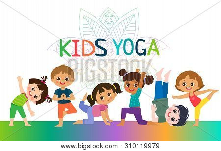 Kids Yoga Horizontal Banners Design Concept. Girls And Boys In Yoga Position Vector Illustration. Ha