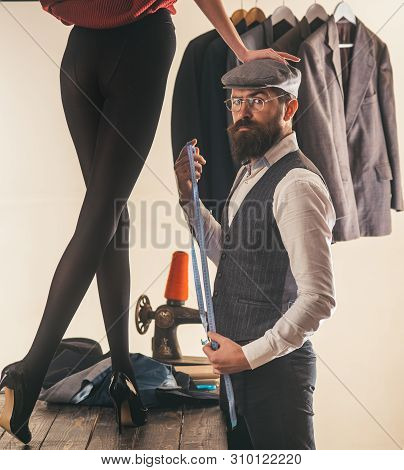 Hes A Master Tailor. Bearded Man Dressmaking Female Clothes In Tailor Shop. Professional Tailor Or F
