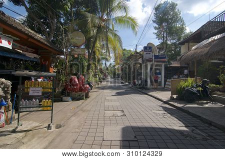 Ubud, Bali, Indonesia - 17th May 2019 : View On The Jalan Bilsma Road One Of The Most Characteristic