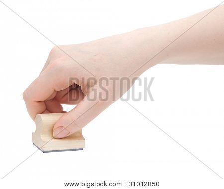 Hand with stamp isolated on white background