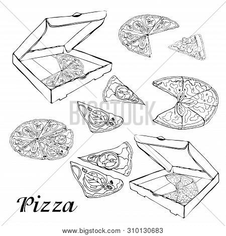 Set Of Type Of Pizza. Hand Drawn Ink Sketch. Pepperoni, Margarita,  Mushroom.  Perfect For Leaflets,