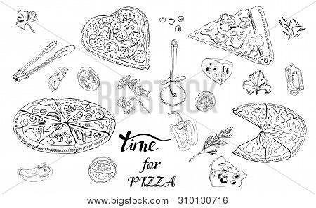 Whole And Sliced  Pizza, Different Vegetables And Items For Pizza. Hand Drawn Ink Sketch. Slice Of P