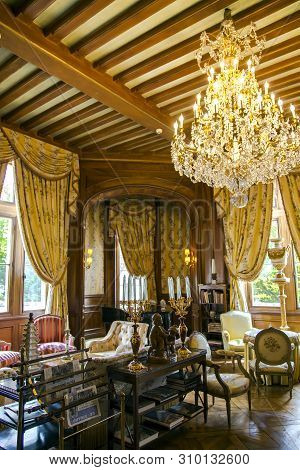 France, Poitou - Charente, May, 19, 2019 - Luxury Golden Interior Baroque Style With Antique Furnitu