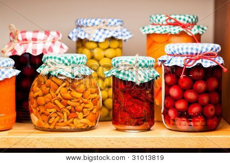 Preserved fruits and vegetables.