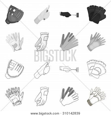 Vector Design Of Knitted And Keeper Logo. Set Of Knitted And Hand Stock Vector Illustration.