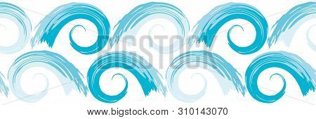 Hand Drawn Opposing Rows Of Blue Ocean Waves In Border Design. Seamless Geometric Vector Pattern On