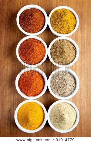 Spices in ramekins