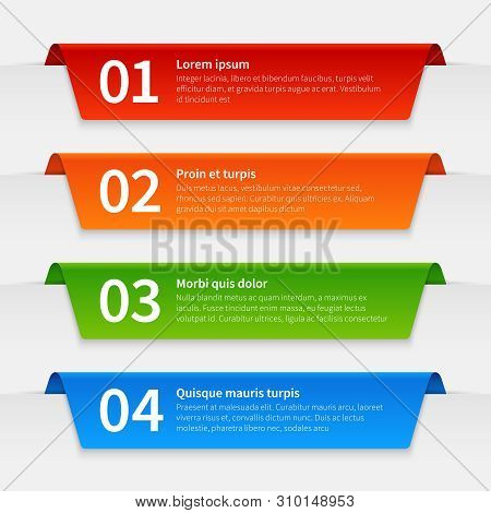 Colorful Infographic Banners. Tabbed Labels Template, Infographics Numbered Ribbon Frames With Text.