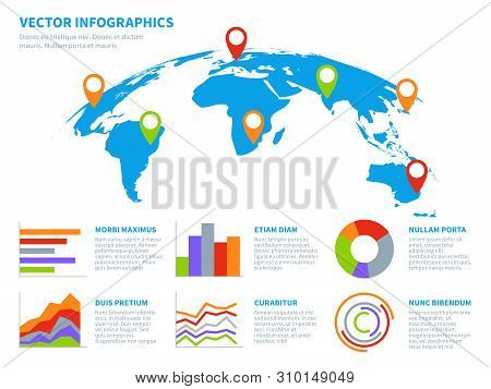 3d Globe Infographics. World Map Information Graphic. Infographic Diagram Maps With Chart. Communica
