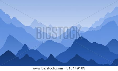 Blue Mountain Landscape. Mountains Misty Silhouettes, Panoramic Hills. Majestic Peak Ranges Horizon,