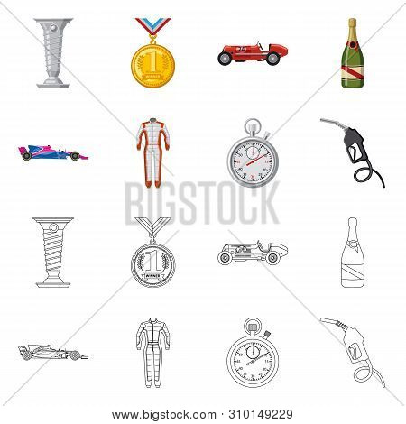 Vector Design Of Car And Rally Logo. Collection Of Car And Race Stock Symbol For Web.