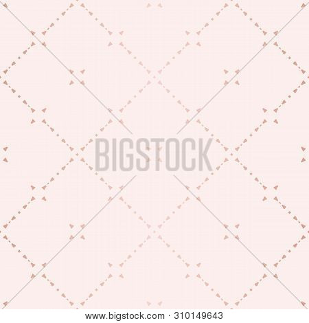 Rose Gold Geometric Seamless Pattern. Vector Metallic Copper Lines On Pink Background. Golden Orname