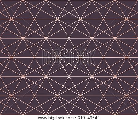 Rose Gold Pattern. Vector Geometric Seamless Texture With Delicate Grid, Lattice, Net, Hexagons, Tri