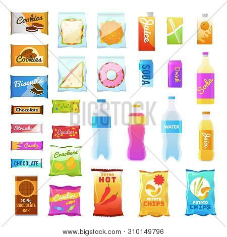 Vending Products. Beverages And Snack Plastic Package, Fast Food Snack Packs, Biscuit Sandwich. Drin
