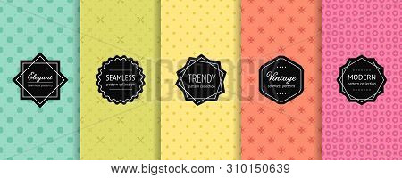 Vector Geometric Seamless Patterns. Collection Of Colorful Background Swatches With Elegant Modern L