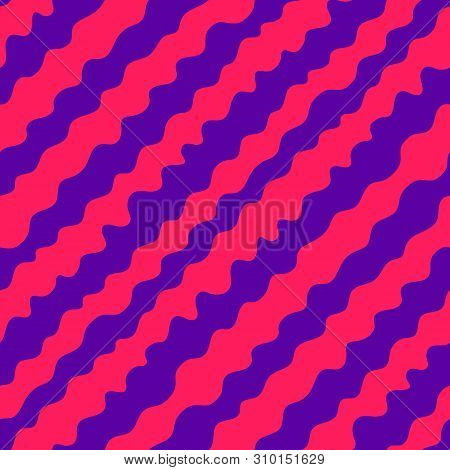 Diagonal Wavy Lines Seamless Pattern. Vector Abstract Liquid Lines Texture. Simple Purple And Pink B