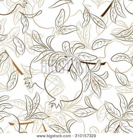 Seamless Nature Background With Pictogram Pomegranates Fruits And Leaves On White. Vector
